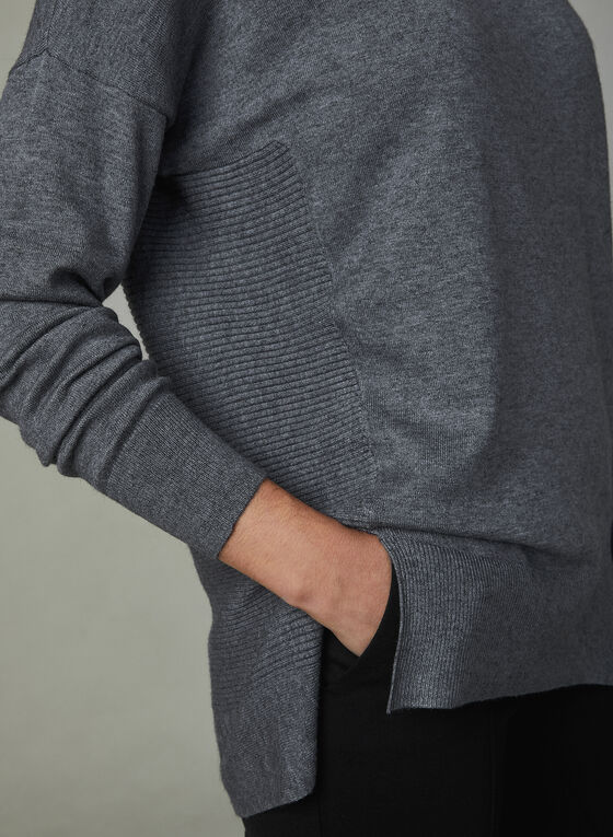Drop Shoulder Sweater, Grey, hi-res