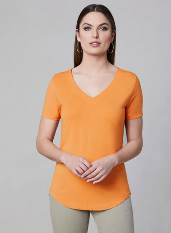 V-Neck T-Shirt, Orange, hi-res