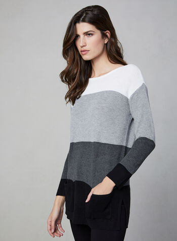 Vince Camuto - Colour Block Sweater, Grey, hi-res,  Vince Camuto, sweater, knit, long sleeves, ribbed, colour block, fall 2019, winter 2019