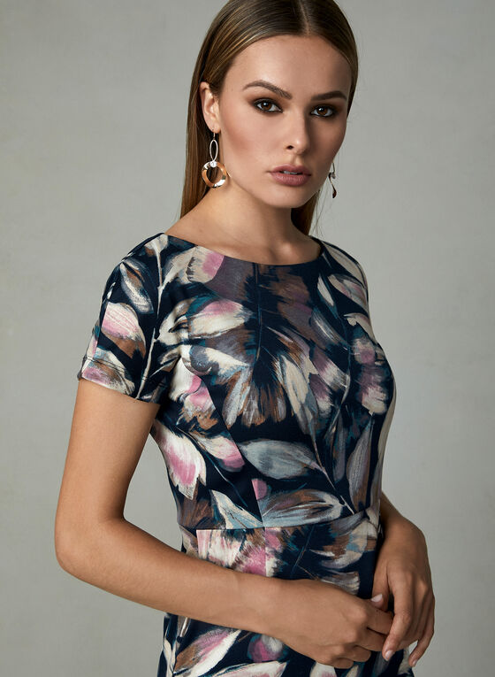 Maggy London - Leaf Print Dress, Blue, hi-res