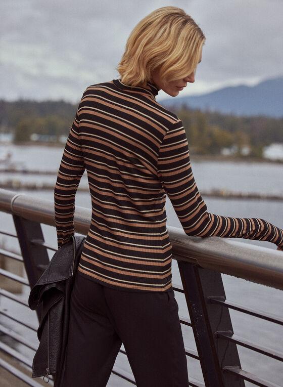 Stripe Print Turtleneck Top, Brown