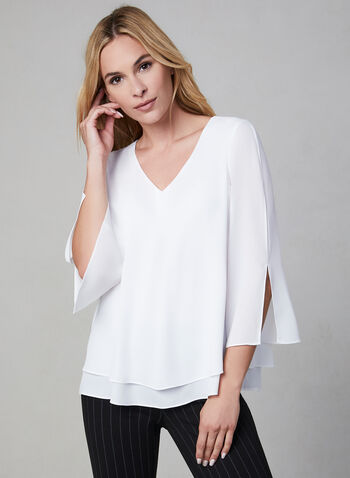 V-Neck Blouse, Off White, hi-res,  blouse, 3/4 sleeves, slit sleeves, V-neck, fall 2019, winter 2019