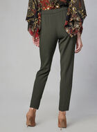 Faux Drawstring Straight Leg Pants, Green
