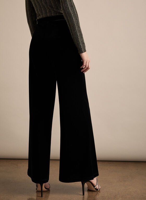 Wide Leg Velvet Pants, Black