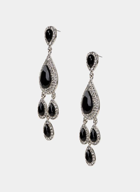 Boucles d'oreilles à pendants gouttes et cristaux, Noir