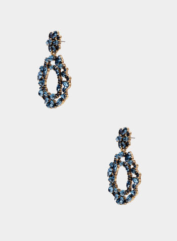 Crystal Hoop Dangle Earrings, Blue, hi-res