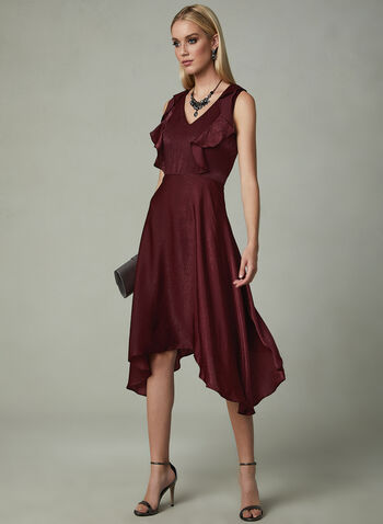 Kensie - Sleeveless V-Neck Dress, Red, hi-res
