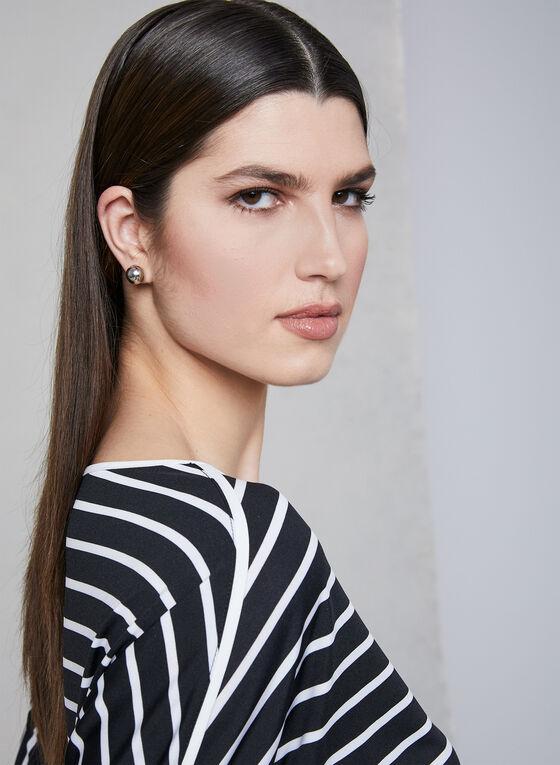 Stripe Print Dolman Sleeve Top, Black, hi-res