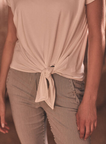 Tie Detail Top, Off White,  spring summer 2021, tee, tees, tops, round neck, short sleeve, knot detail, knotted, loose