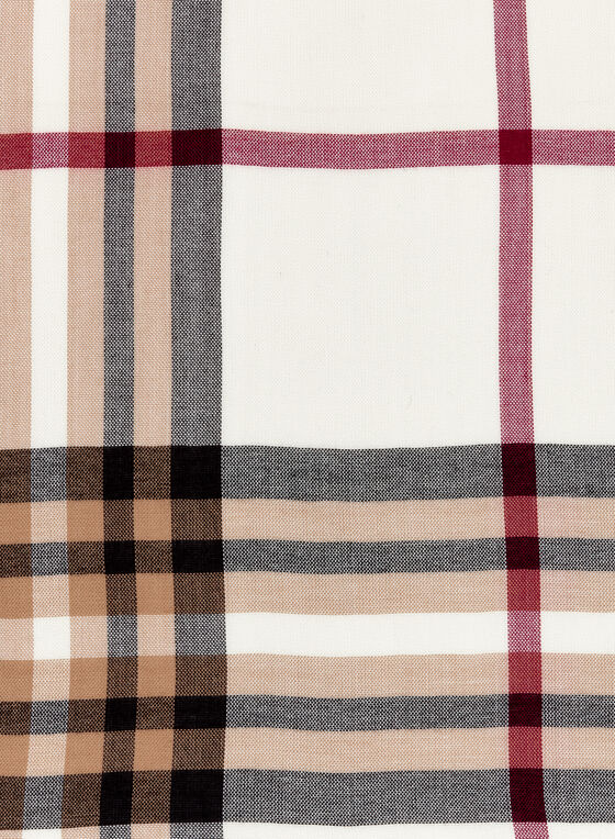 Plaid Pashmina Scarf, Off White, hi-res