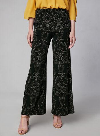 Pantalon pull-on motif cachemire, Noir, hi-res,  pantalon, jambe large, pull-on, cachemire, jersey, automne hiver 2019