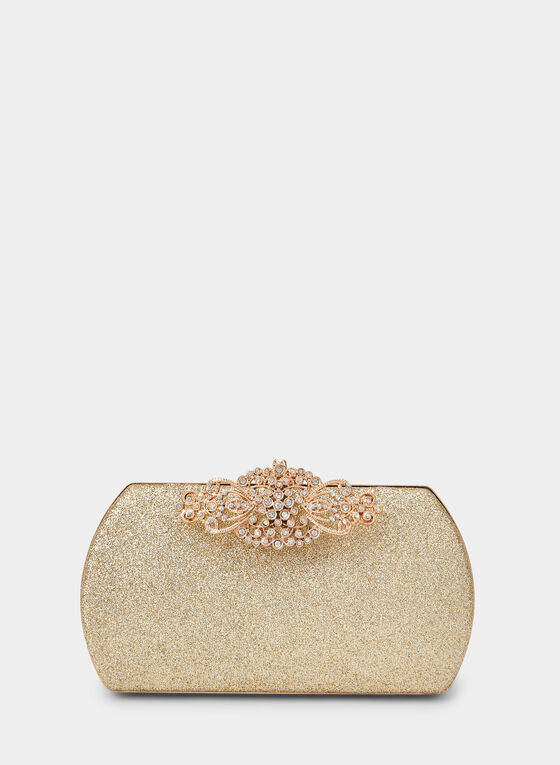 Embellished Glitter Box Clutch, Gold