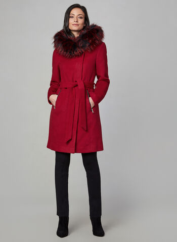 Karl Lagerfeld Paris - Wool-Blend Coat, Red, hi-res,  fall 2019, winter 2019, coat, wool, Karl lagerfeld, faux fur, hood