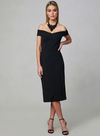 Off-the-Shoulder Dress, Black, hi-res