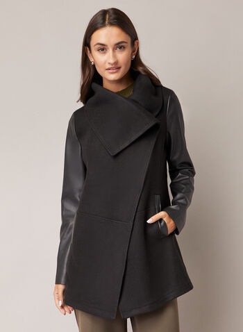 Wool & Vegan Leather Coat, Black,  coat, drape collar, wool, vegan leather, pockets, fall winter 2020