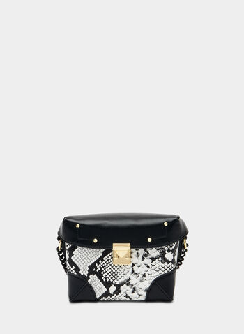 Sac rectangulaire à motif serpent , Noir, hi-res,  sac, rectangle, faux serpent, similicuir, automne hiver 2019
