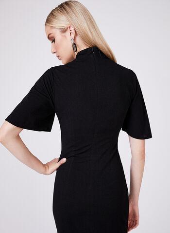 Maggy London - Robe à col châle et effet plissé , Noir, hi-res