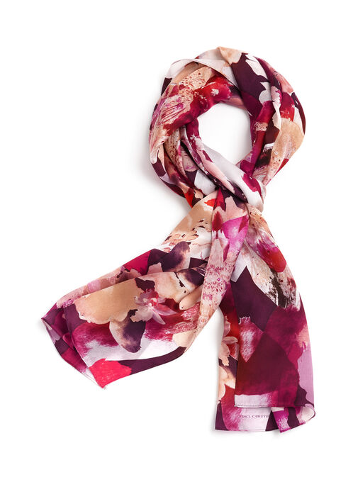 Foulard léger oblong en soie à fleurs, Pourpre, hi-res