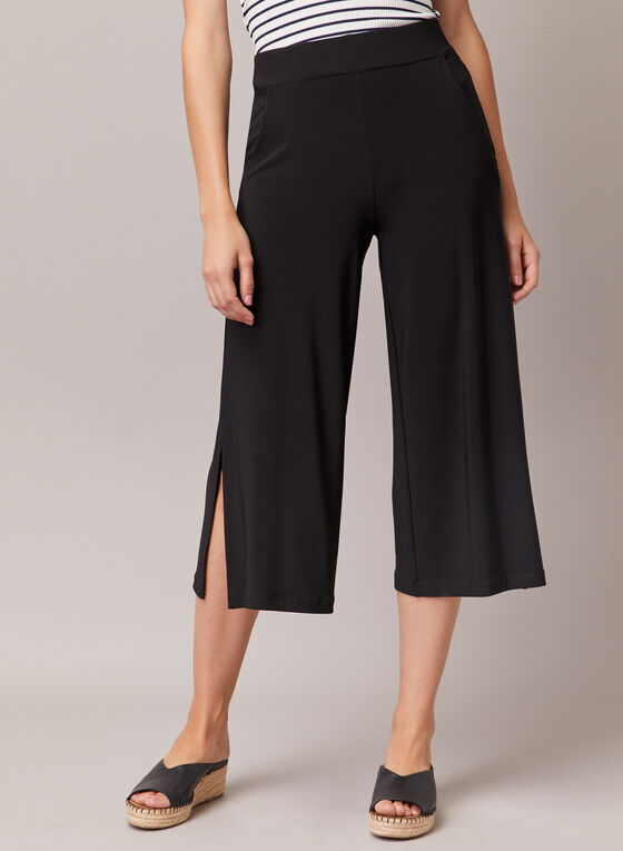 Slit Hem Gaucho Pants, Black