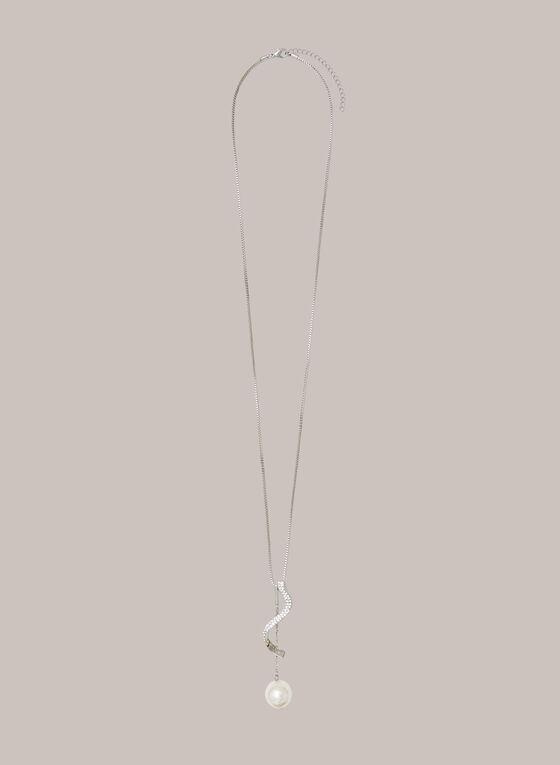 Twist & Pearl Pendant Necklace, Silver