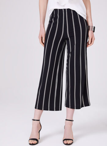 Wide Leg Pull-On Crop Pants, Black, hi-res