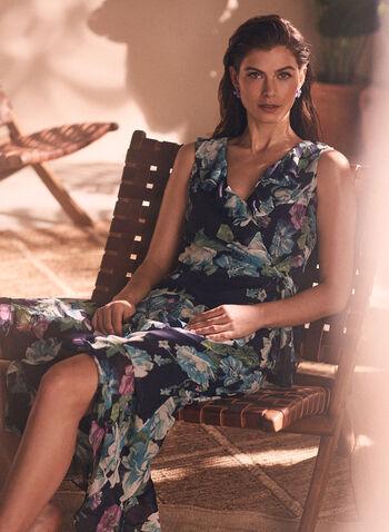 Maggy London - Robe fleurie à détails volantés, Bleu,  robe, robe de jour, encolure en V, col en V, volants, ceinture, sans manches, motif floral, imprimé, mousseline, longueur cheville, printemps été 2021