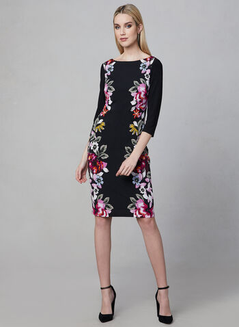 Frank Lyman - Floral Print Sheath Dress, Black, hi-res