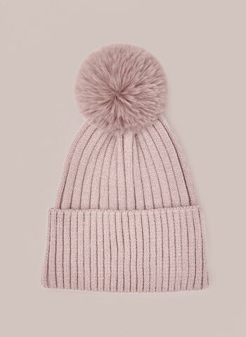 Removable Pom Pom Ribbed Hat, Pink,  fall winter 2020, hat, knit hat, beanie, tuque, removable pom pom, pompom,