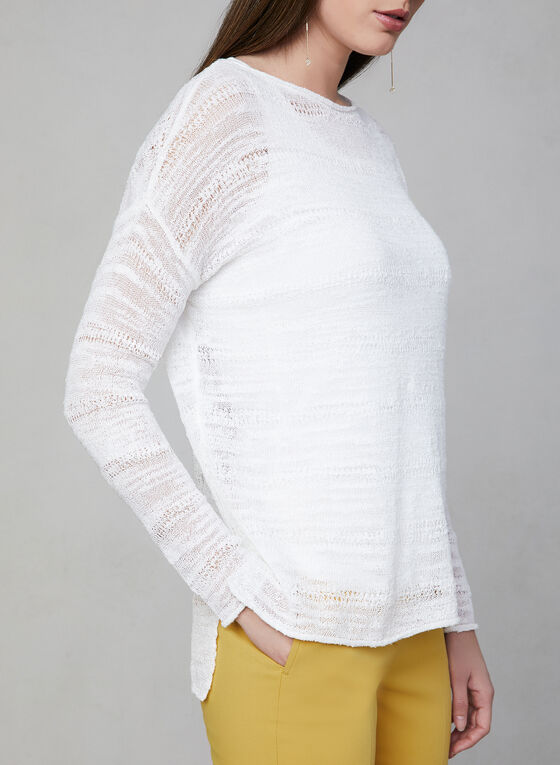 Drop Shoulder Knit Top, Off White, hi-res