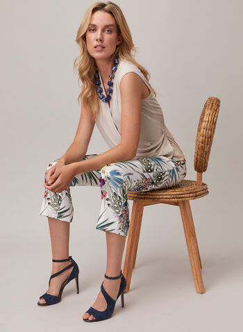 Joseph Ribkoff - Tropical Print Pull-On Pants, White,  pants, pull-on, tropical, slim leg, bengaline, spring summer 2020