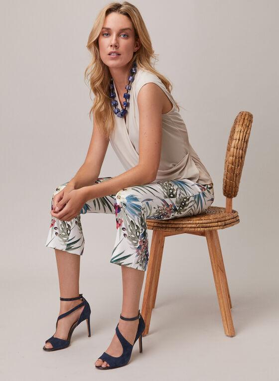 Joseph Ribkoff - Pantalon pull-on motif tropical, Blanc