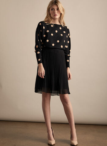 Polka Dot Print Top, Black,  top, polka dot, balloon sleeves, made in canada, boat neck, jersey, fall winter 2019