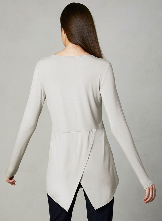 Long Sleeve Capelet Top, Off White