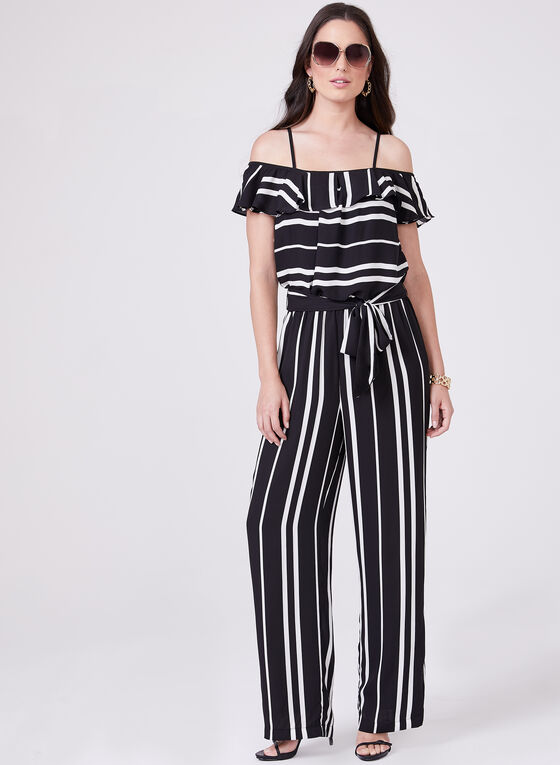 Stripe Print Off The Shoulder Jumpsuit, Black, hi-res