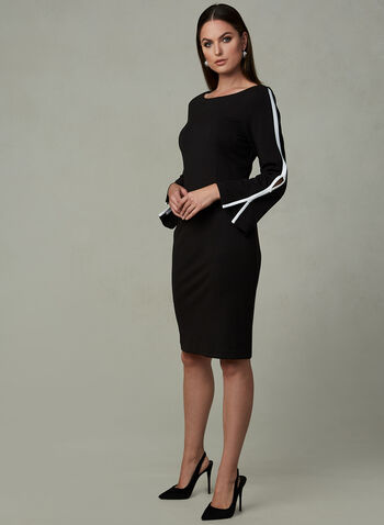 Contrast Stripe Dress, Black, hi-res