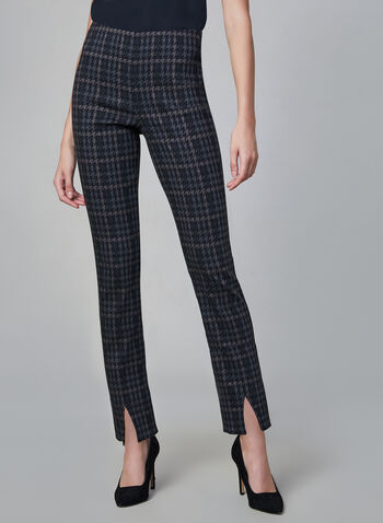 Joseph Ribkoff - Houndstooth Print Pants, Grey, hi-res,  made in canada, slim leg, houndstooth