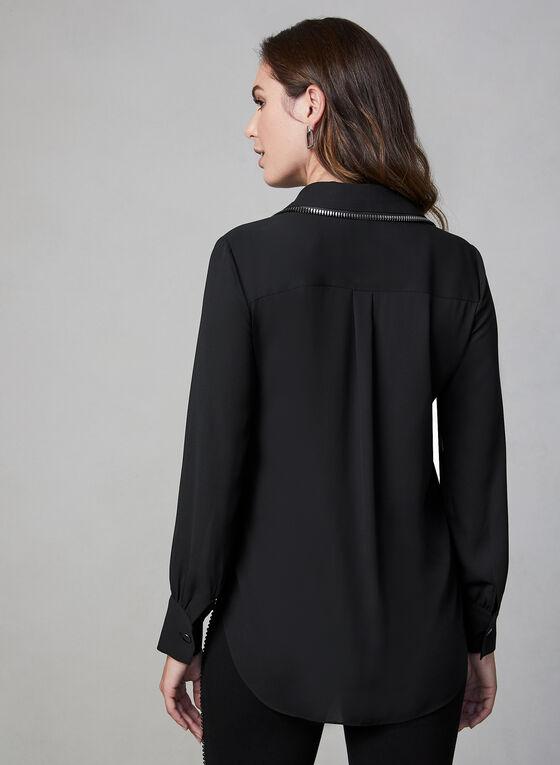 Blouse à détails zippés, Noir, hi-res