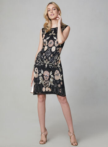 Frank Lyman - Embroidered Sheath Dress, Black, hi-res