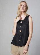 Vince Camuto - Sleeveless Linen Blouse, Black, hi-res