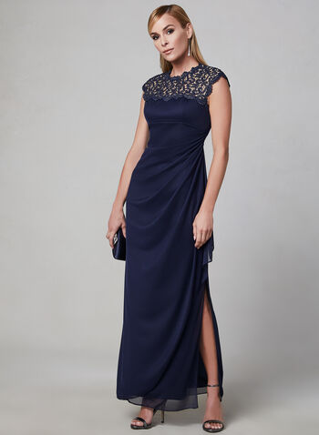 Alex Evenings - Draped Evening Dress, Blue, hi-res,  evening dress, occasion dress, lace, mesh, short sleeves
