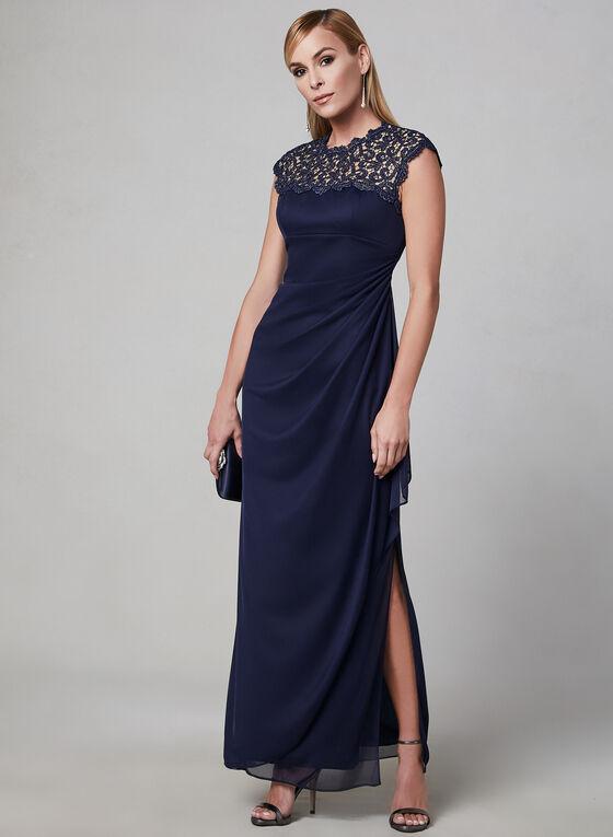 Alex Evenings - Draped Evening Dress, Blue, hi-res