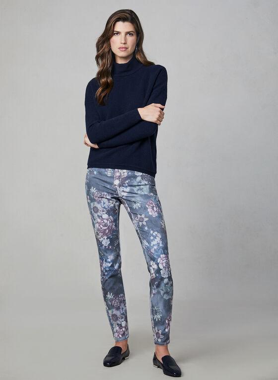 Ribbed Print Zipper Detail Sweater, Blue