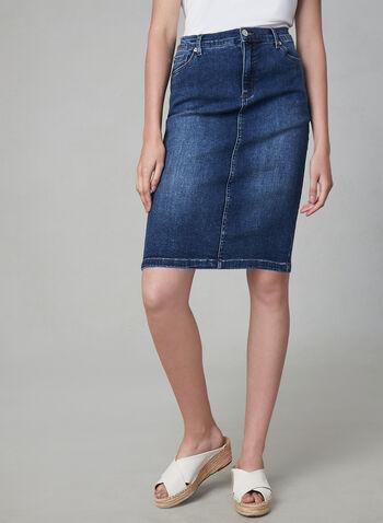 5-Pocket Jean Skirt, Blue,  jean, skirt, spring 2019