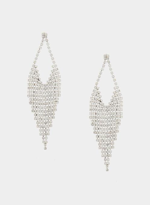 Crystal Cascade Earrings, Silver, hi-res