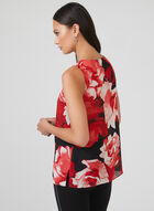 Floral Print Sleeveless Top, Red, hi-res