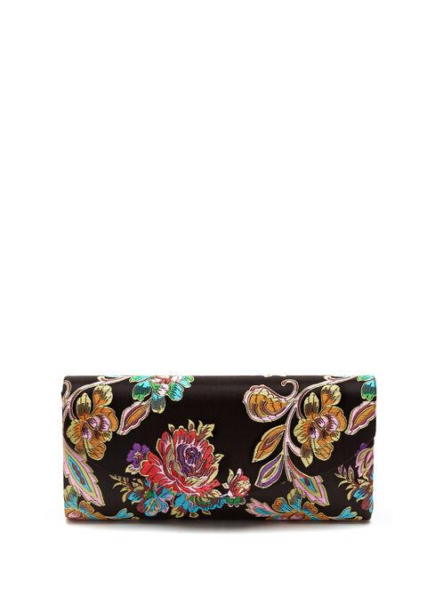 Floral Embroidered Clutch, Black, hi-res