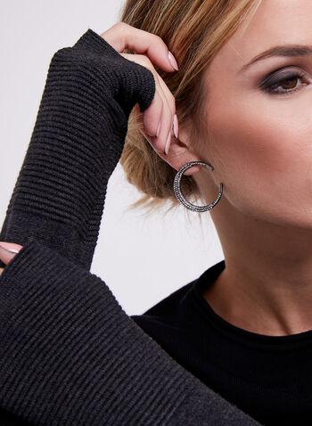 Pull à rayures contrastantes en tricot ottoman, Noir, hi-res