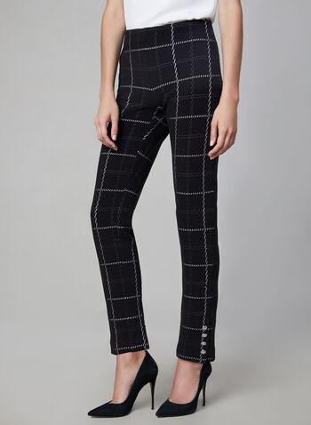 Amber Fit Windowpane Print Pants, Black, hi-res,  Amber, pants, slim leg, high rise, tailored, windowpane print, fall 2019, winter 2019