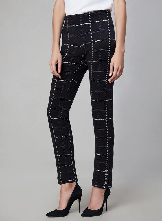 Amber Fit Windowpane Print Pants, Black, hi-res