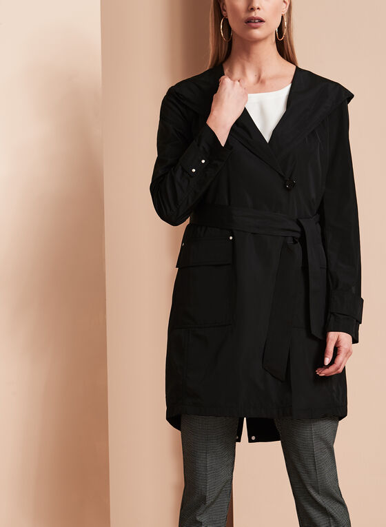 Novelti - Belted Packable Trench Coat, Black, hi-res